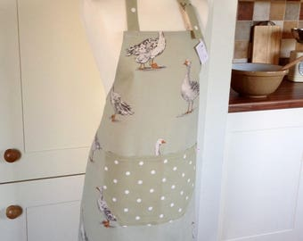 Apron, Sage Geese & Dotty Ladies Apron, Adjustable Apron, Full Apron, Geese Apron, Kitchen Accessory, Goose Apron, Womens Apron