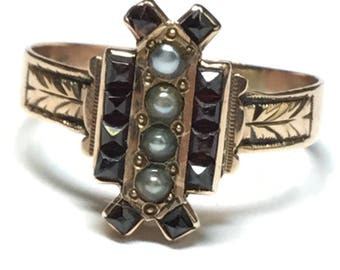 Antique Victorian 10k Rosey Yellow Gold Garnet and Pearl Statement Ring Size 7.5
