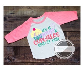 ON SALE It's a leggings and cupcakes kind of day | little girls neon pink baseball style shirt | girly comfotable cute top