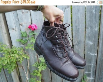 FLASH SALE :) vintage 90's italian made brown leather roper boots // boho witchy goth romantic grunge // sz 7 1/2 ~ 8