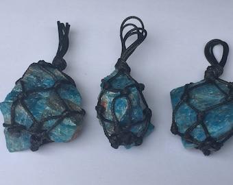 Blue apatite Necklace, raw apatite necklace, raw crystal necklace, magic necklace, chakra necklace, Healing necklace, Boho Unisex Necklace
