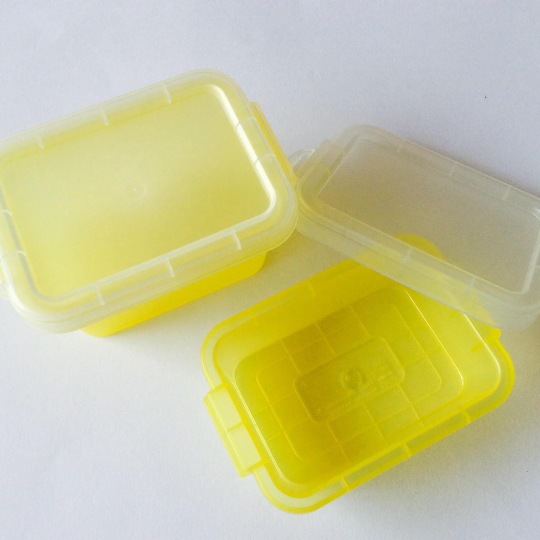 10 mini bo tes en plastique jaune transparent. Black Bedroom Furniture Sets. Home Design Ideas