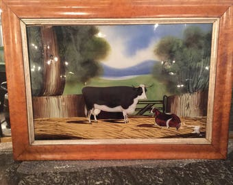 Antique Painted On Glass Painting With A Birdseye Maple Frame