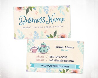 Premade Business Card Design • Tea Floral Watercolour