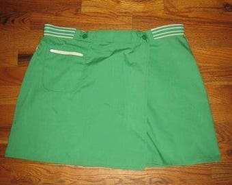 Vintage Jantzen Made In USA Retro Green White Solid Stripe  Buttoned Zipper Pockets Wrap Short Mini Mod Tennis Skirt Size 16