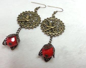 Bird on lace red earrings
