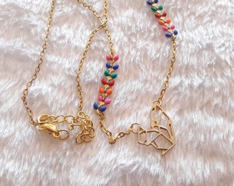 Gold multicolor origami squirrel necklace