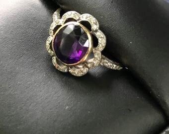 Gorgeous Antique Amethyst Diamond Ring