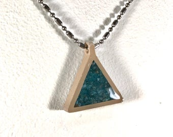Malachite Apatite Triangle Pendant - double-sided, choker necklace