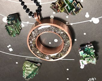 XL Bismuth and Orgone Pendant  --shungite, black tourmaline, herkimer diamond, nano metal orgone matrix