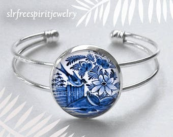 Delftware Bracelet, Blue and White, Delftware Necklace, Vintage Delftware, Silver Jewerly Glass jewelry,Netherlands, Collectables