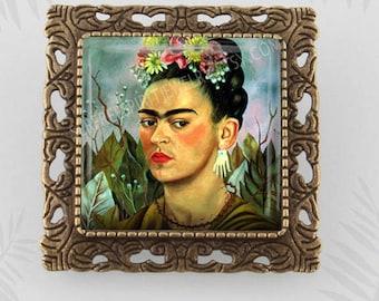 Frida Kahlo Brooch, Frida Kahlo Cabochon Pin,  Square Lapel pin, Mexican Artist, Frida Kahlo Gift,  Art Brooch, Gift for Women, Artist