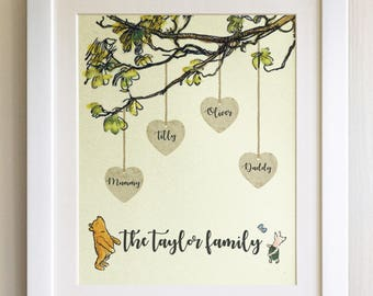 FRAMED Personalised Winnie the Pooh Family Tree Print, Christening, Nursery, Birth, Picture Gift, Pooh Bear, Choice of 3 frames