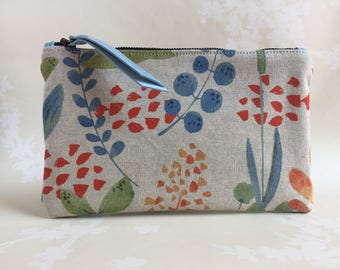 Flowery Clutch pochette purse evening purse, toiletry bag, gift for her, unique gift