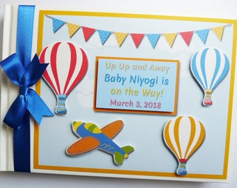 Personalised Up Up and Away Birthday Guest Book - any design