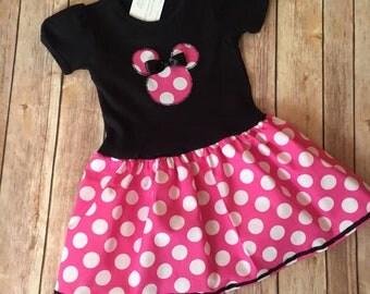 Pink Minnie Mouse Dress, Pink Polka dot Dress, Girl's Pink Minnie Dress, Little Girl Pink Minnie Dress