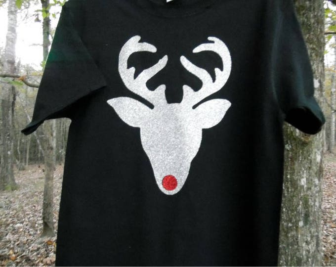 Glitter Rudolph the Red Nosed Reindeer Short-Sleeved Christmas Holiday T shirt - any color combination choices