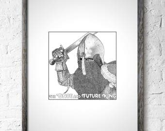 Once and Future King TH White Wall Art King Arthur Arthurian Legend Sword in the Stone Quest Questing Beast Knight Armor Chainmail Merlin