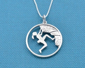 """Rock climbing pendant in sterling silver on sterling silver 18"""" box Chain.  Rock climbing necklace.  Rock climbing jewelry.  Rock climbing"""
