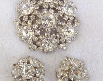 """Dazzling Vintage 1950's 2 1/4"""" Diameter Clear Rhinestone Brooch and Matching Earrings Demi-Parure Possibly Eisenberg"""
