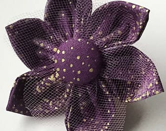 Purple and Gold Flower for Diva Dog or Cat Collar