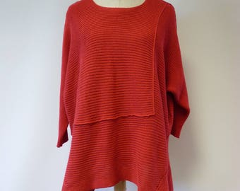Casual red cotton sweater, XXL size.
