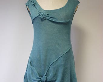 The hot price. Handmade delicate petrol coloured linen top, L size.