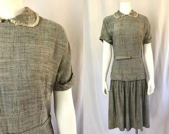 Medium ** 1940s CHARCOAL GRAY gabardine belted dropwaist dress ** vintage forties grey twill dress