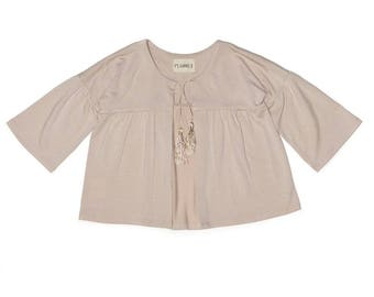 Cardi in soft Bamboo jersey with tassel ties