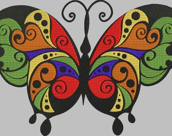 tribal butterfly machine embroidery design