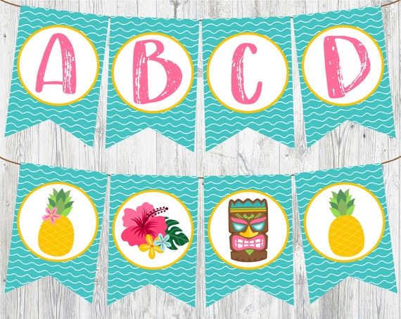 Tropical Themed Party Ideas Free Printables: Full Alphabet Luau Banner. Printable Banner For Luau Birthday