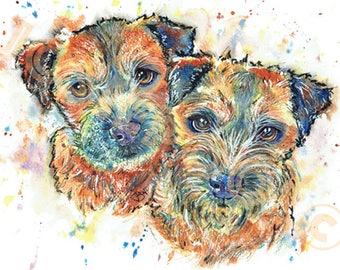 BORDER Terrier Print of Original Watercolour Painting Watercolor Dog Painting by Josie P.