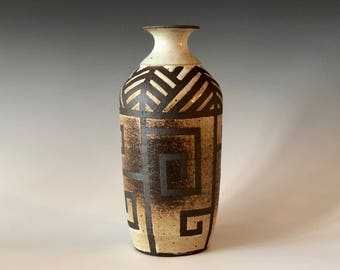 Southwest inspired handmade pottery speckled White and Black stoneware bottle vase, decor Haight Pottery Company