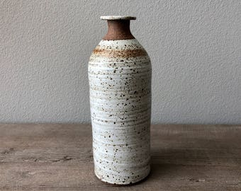 Modern handmade pottery speckled matte white stoneware bottle vase, mid-century decor Haight Pottery Company