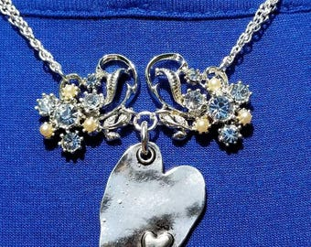 Blue Screw-on Earrings Repurposed into Necklace