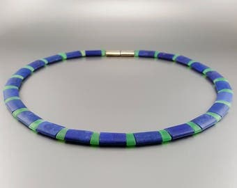 Mat Lapis Lazuli and Chrysoprase collier/necklace with Sterling silver -natural genuine Lapis Lazuli - Statement Necklace - blue and silver