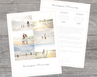 Photography pricing template, photography template, photography price and packages template, pricing guide template for photographers