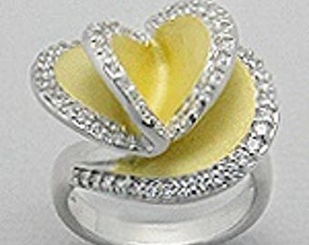 10% SALES Silver Ring, 925 sterling silver ring with 14k gold-plated and decorated with CZ