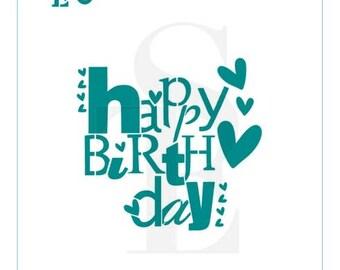 Fun Happy Birthday Greeting Stencil