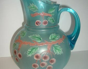 Old Blue Glass Big Pitcher with painted Cherries