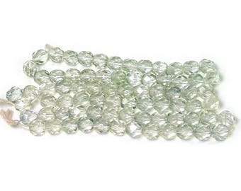 Pale Gray Green transparent 6mm firepolished rounds. Set of 25 or 50.