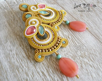 SPECIAL PRICE!!! Soutache Earrings, Handmade Earrings, Hand Embroidered, Soutache Jewelry, Handmade from Italy, OOAK