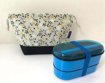 SUMMER SALE! Lemon vine print bento bag / travel bag