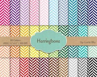 "SALE 50%OFF Herringbone Digital Paper pack: ""Rainbow Herringbone Patterns"" digital paper bundle, geometric digital paper, set of 30, commerc"