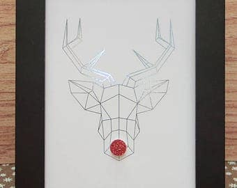 Mint green Rudolph reindeer head-5x7