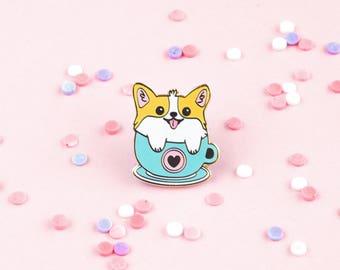 Corgi Pin, Pins, Enamel Pin, Lapel Pin, Hard Enamel Pins, Cloisonné, Welsh Corgi, Dog Pins, Animal Pins, Cute Pins, Kawaii Pins, Food Pins