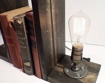 30% OFF SALE Bookend lamp-Steampunk lamp-Edison bulb lamp-Vintage table lamp-Bedside table lamp-Industrial wood lamp-Vintage Edison Lamp-Mod