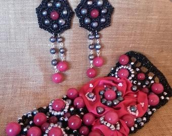 Jewelry sets stone bracelet stone earrings crochet textile jewelry set handmade jewelry set jewelry accessories earrings jewelry crochet