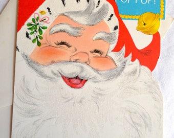 Vintage Christmas Card - Glitter Santa to Pop Pop - Unused