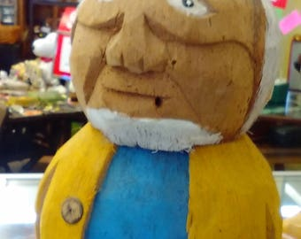 Carved Sailor from Two Stacked Coconuts  -- FREE Shipping